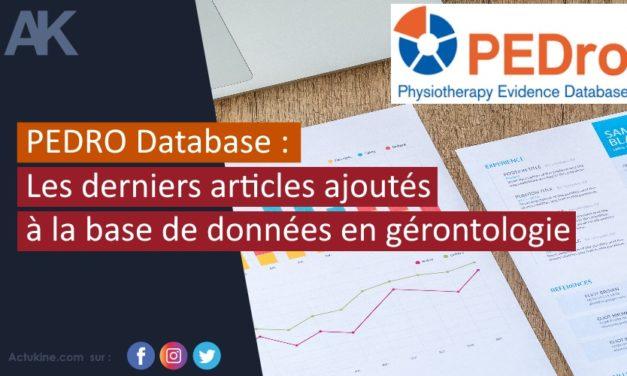 PEDRO Database : les derniers articles ajoutés à la base de données en gérontologie
